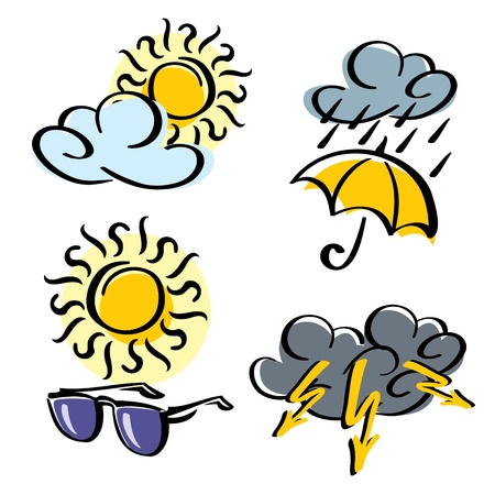 set vector icons of weather