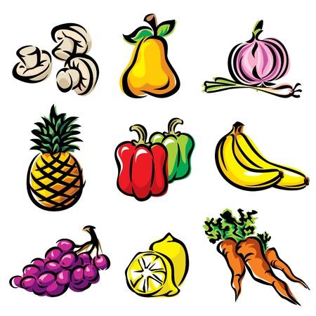 pimientos: Establecer color imagen frutas y verduras Vectores