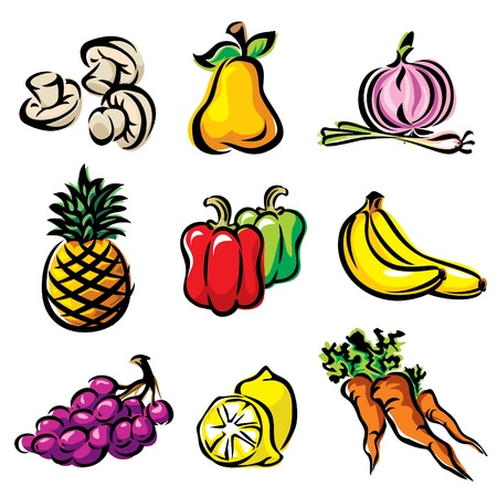 set color image fruits and vegetables Stock Vector - 10259777