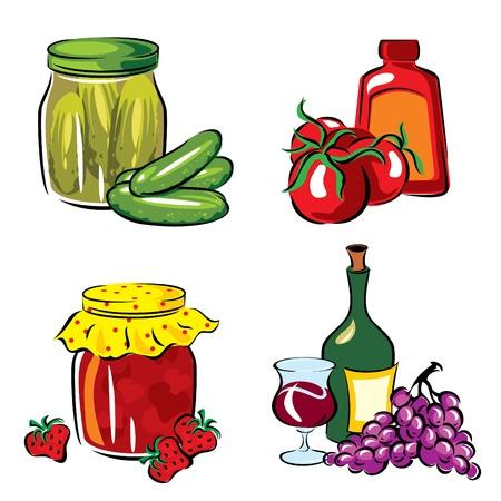 漬物の: 保全の果物や野菜の画像を設定します。  イラスト・ベクター素材