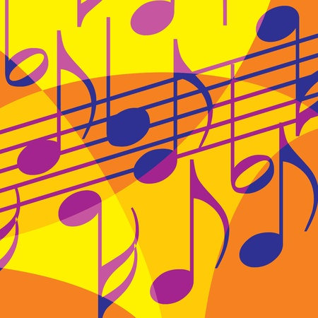 musical instrument symbol: background with notes. Stylization of color overlapping forms. Illustration