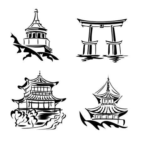 black and white images asian temples and architecture Иллюстрация
