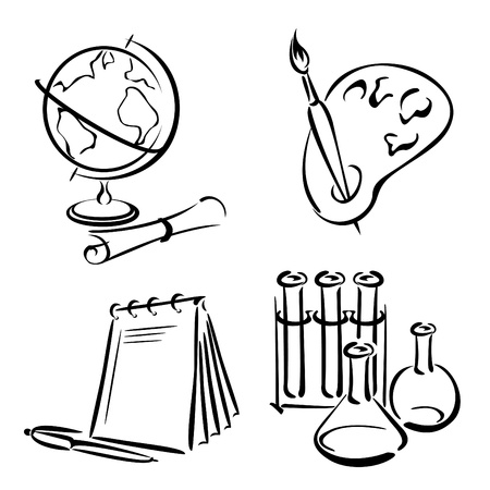stationary set: set vector image of items for school