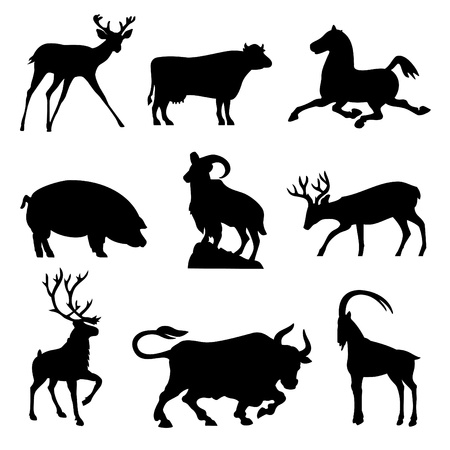 ungulates: set silhouette vector images animals fnd ungulates