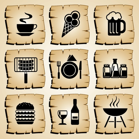 set vector symbol food and beverages