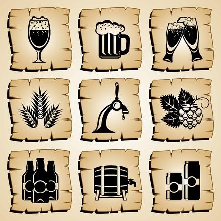 barrels set: set vector symbol beer and ingredients Illustration