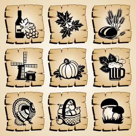 set symbol autumn and harvest festival Stock Vector - 10782652