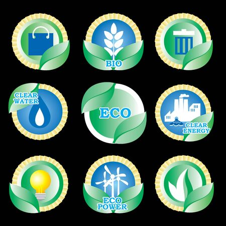 set color icons of ecology and clear power Stock Vector - 10782653