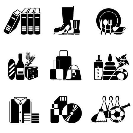 sporting goods: conjunto de iconos en blanco y negro de bienes y mercanc�as en el supermercado