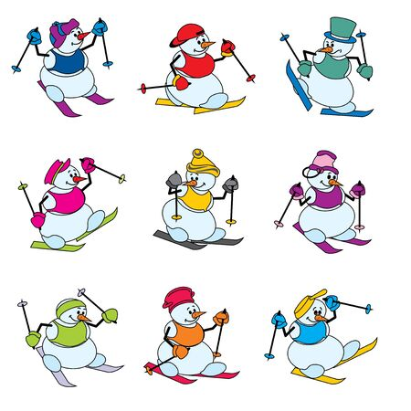 set color images of snowman on skis Vector