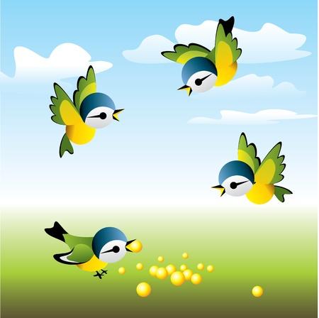 새 무리가 점심으로 날아 갔다. 일러스트