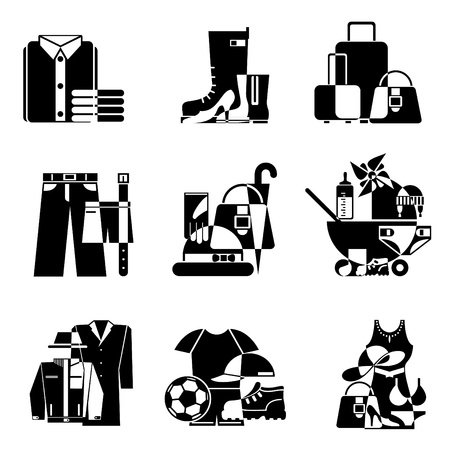 set black and white icons of clothing and accessories Stock Vector - 11533905