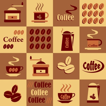 espresso machine: set of coffee on a checkerboard background in shades of brown Illustration