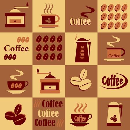coffee beans: set van koffie op een schaakbord achtergrond in de kleuren bruin