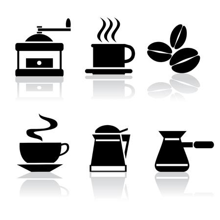 conjunto de vectores iconos de color blanco y negro del café Ilustración de vector