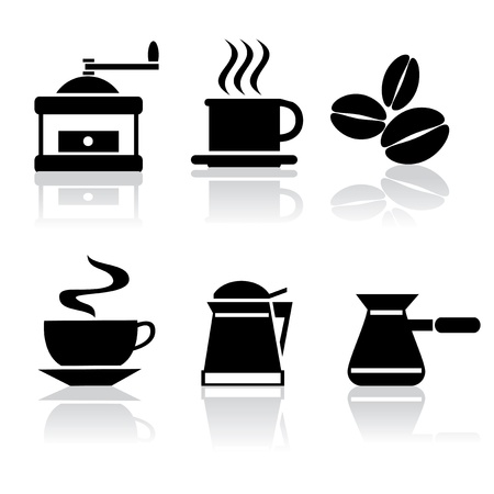 coffee mill: set of vector black and white icons of coffee