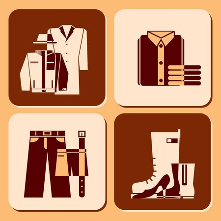 set vector icons of clothing and accessories Stock Vector - 11950893