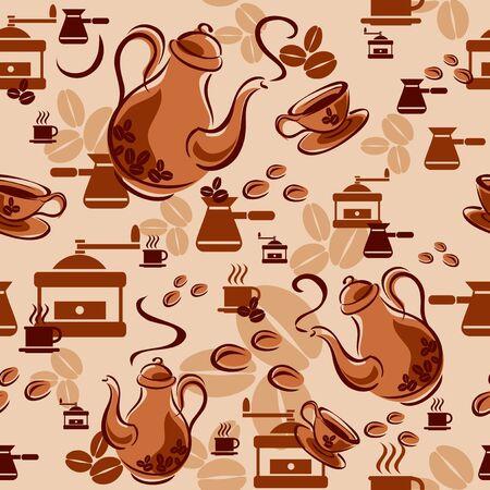 De fondo sin fisuras con los símbolos de café Ilustración de vector