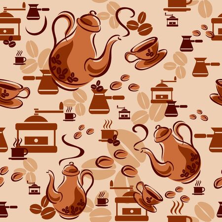 Seamless background with coffee symbols Vector