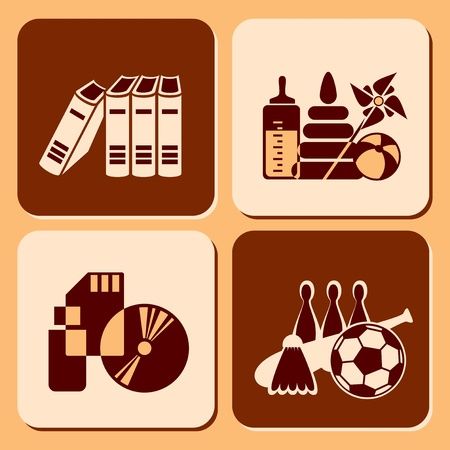 set icons of object for leisure Stock Vector - 12115369
