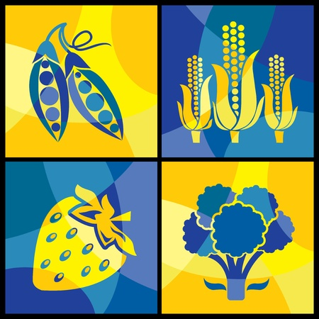 collection of images of various  vegetables Vector