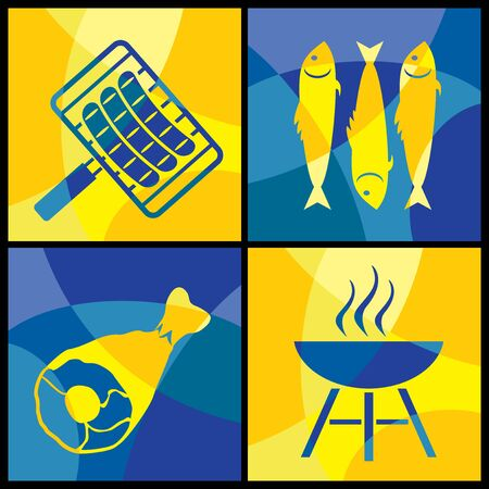 collection of images of various food barbecue Vector