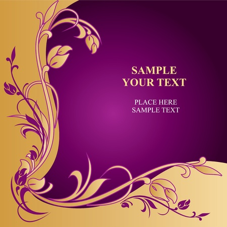 template greeting card with golden ornament Vector
