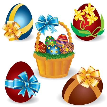 family grass: Cestas de imagen con los huevos de Pascua Vectores
