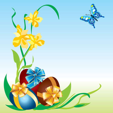 Image of Easter eggs with flowers and butterflies Vector
