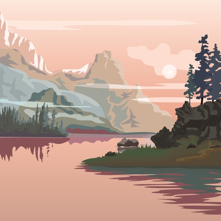 river rock: vector landscape. Sanrise in mountains.