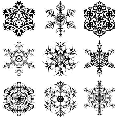 silhouette  of snowflakes Stock Vector - 12431629