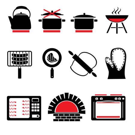 utensilios de cocina: establecer los iconos del vector de la cocci�n de alimentos y utensilios de cocina