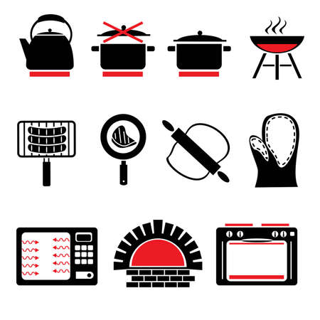 stove: set vector icons of cooking food and cookware Illustration