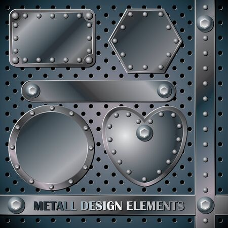 set vector metall design elements Stock Vector - 12889427