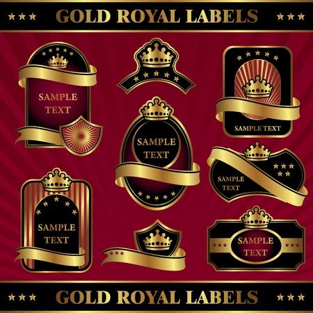burgundy ribbon: impostare immagine vettoriale d'oro etichette reali