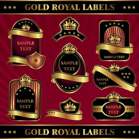 set vector image gold royal labels