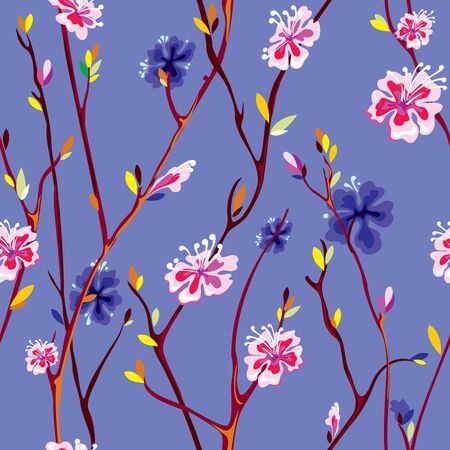 vector seamless background with spring flower  Vector