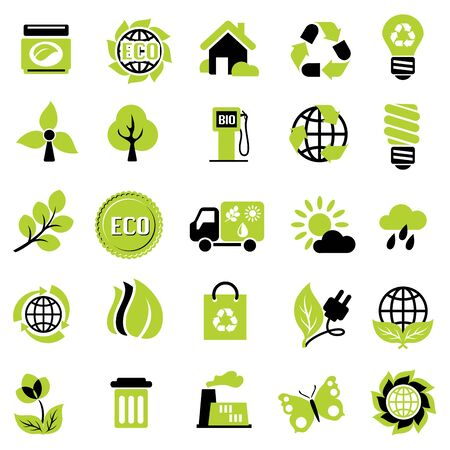 environmentally friendly: set vector icons of ecological signs and symbol