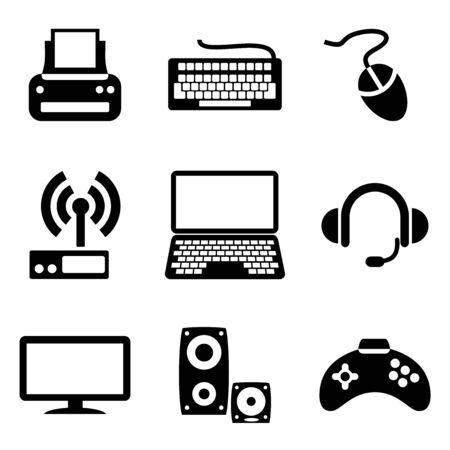establecer los iconos informáticos de dispositivos informáticos Ilustración de vector