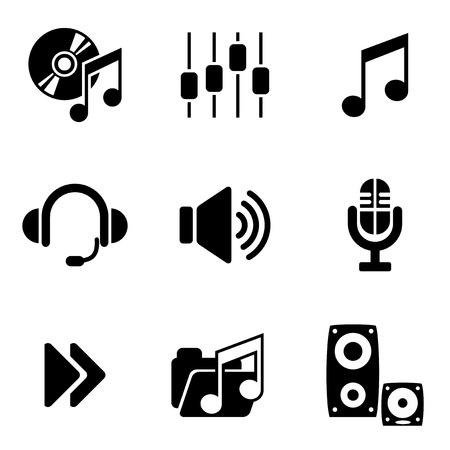 geluid: ingesteld vector computer iconen van audio en muziek Stock Illustratie