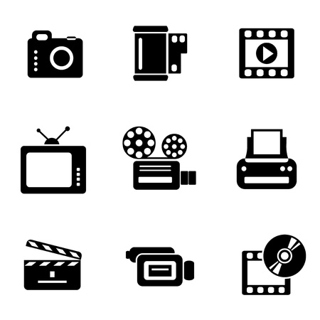 video film: set vector computer icons of photo and video