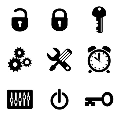 lock symbol: set vector computer icons of parameters and settings
