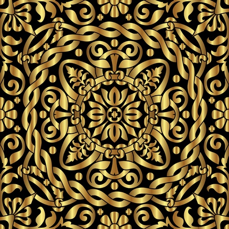vector seamless background with gold asian ornament
