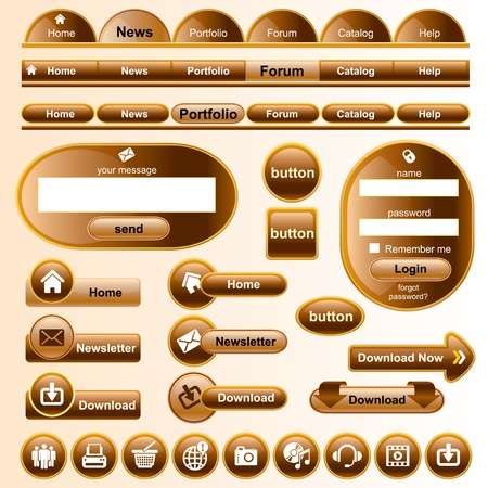 collection brown design elements for your website Stock Vector - 13355374