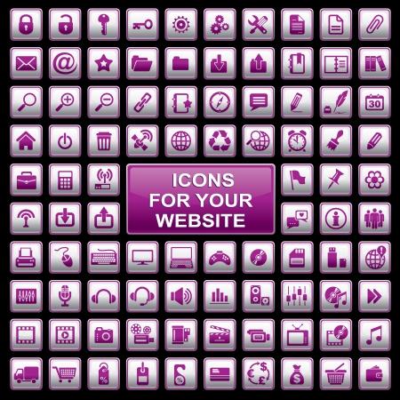 un conjunto de 92 iconos de ordenador para su sitio web