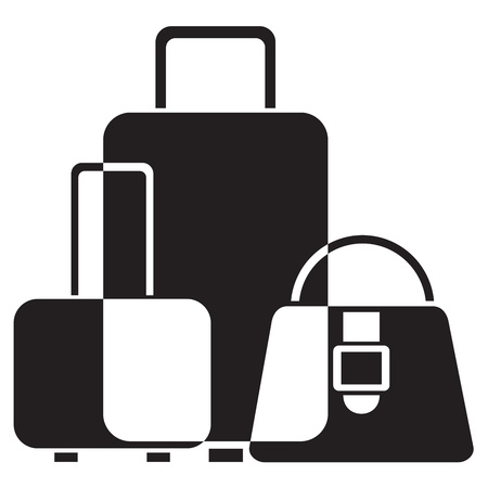 black and white icon of luggage Vector