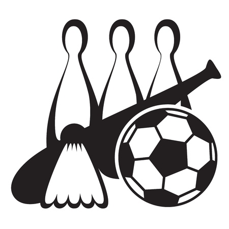 black and white icon of sports equipment Stock Vector - 13394908