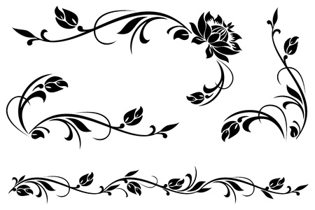 floral swirls: vector design elements for floral ornament