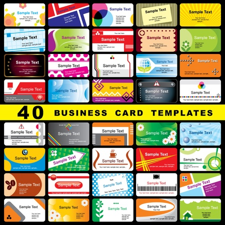 blank business card: 40 color vector template for horizontal business cards Illustration