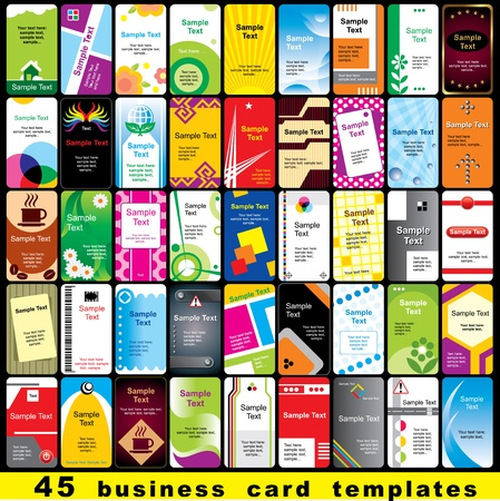 45 color template for vertical business cards Vector